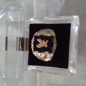 Men's Onyx Eagle Ring, 10k Yellow Gold, Sterling